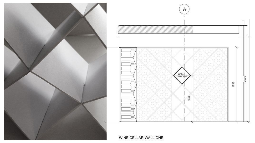 Sophie Bates Architects Wine Cellar to Putney basement London cad sketch